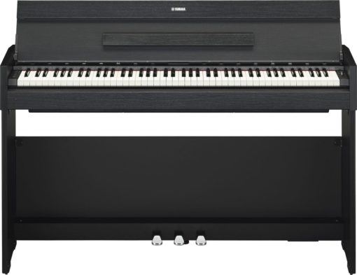 Black walnut, 88-note, weighted action console digital piano.