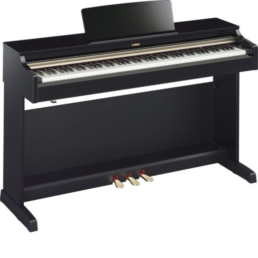 Polished ebony Arius traditional console digital piano with bench