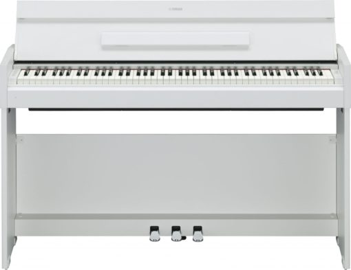 White walnut, 88-note, weighted action console digital piano.