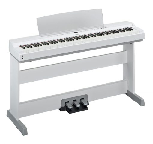 88-key white digital piano with polished white accents.