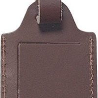 Business card sized leather luggage tag.