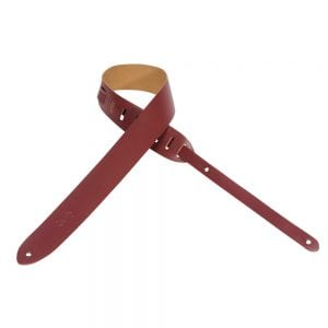 Levy's 2″ wide burgundy genuine leather guitar strap