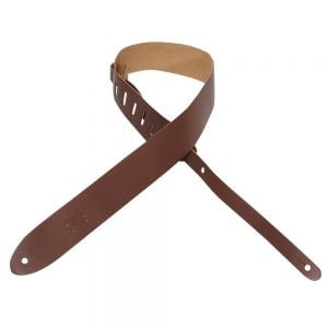 Levy's 2″ wide brown genuine leather guitar strap