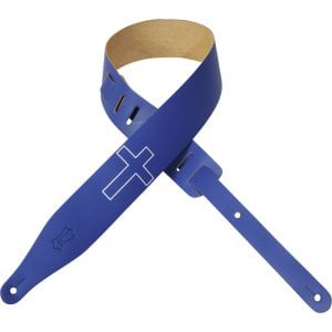 Levy's 2 1/2″ wide royal blue genuine leather guitar strap