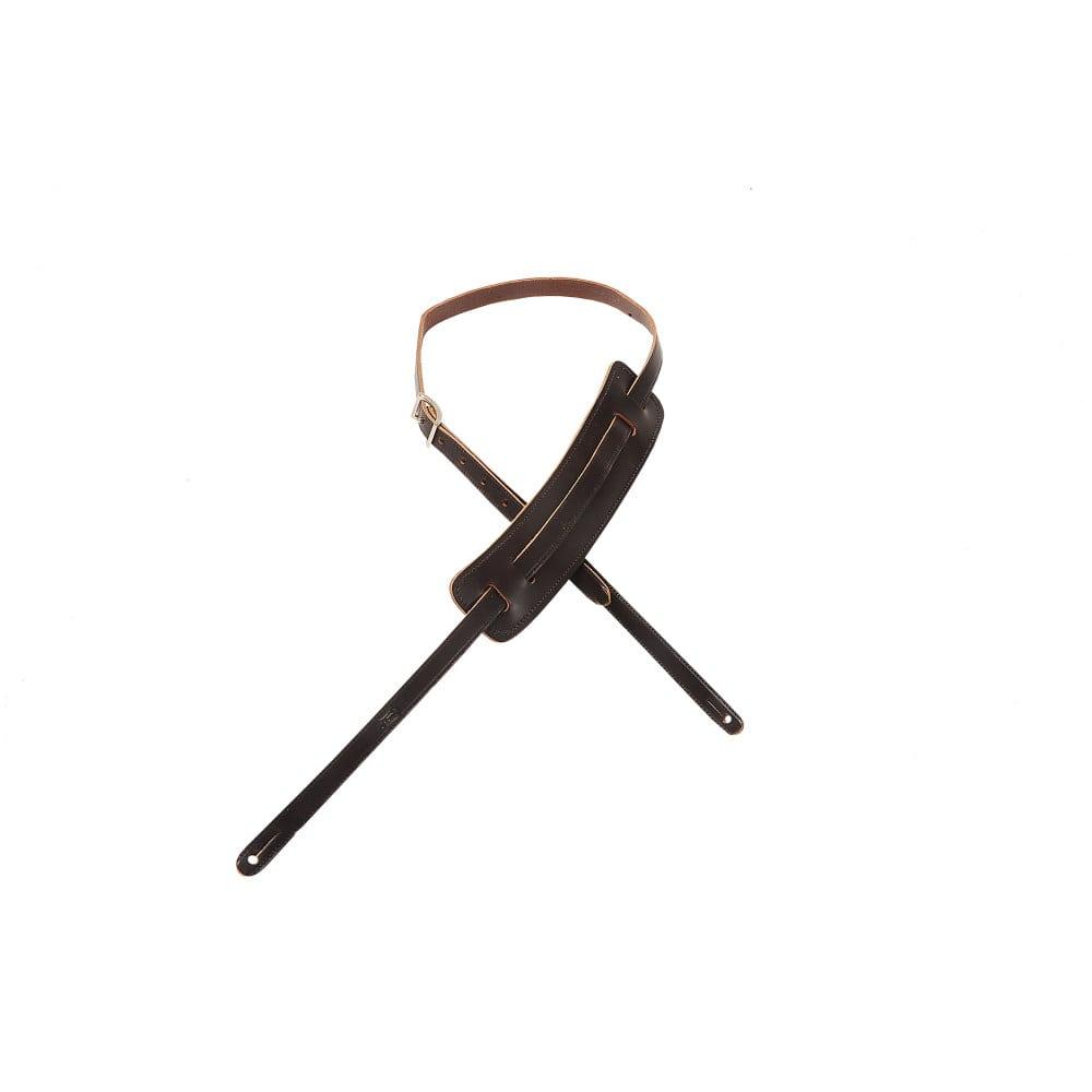 "Levy's 5/8"" wide dark brown veg-tan leather guitar strap."