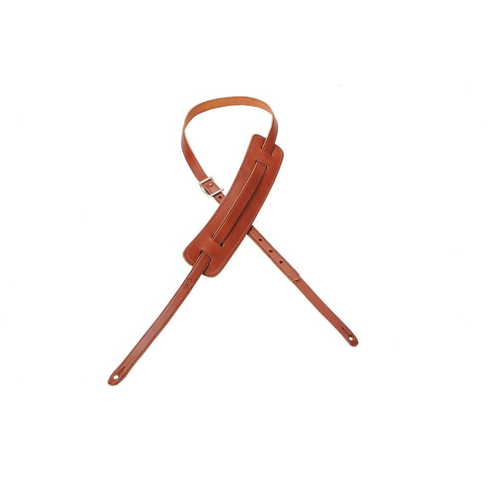 "Levy's 5/8"" wide walnut veg-tan leather guitar strap."