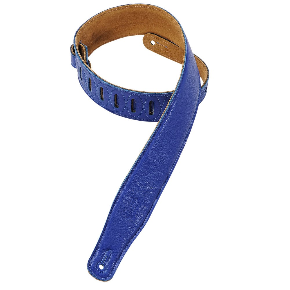 """Levy's 2 1/2"""" wide blue garment leather guitar strap."""