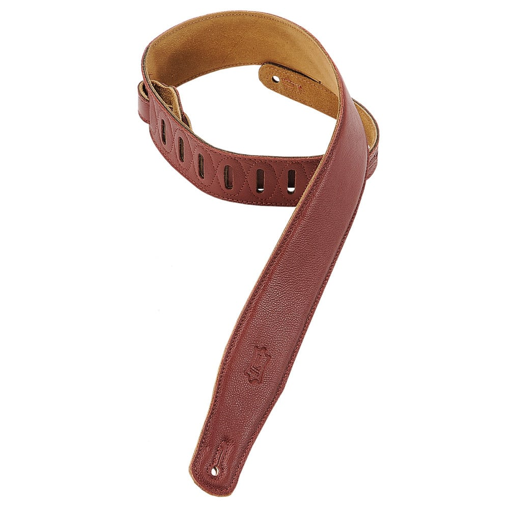 """Levy's 2 1/2"""" wide burgundy garment leather guitar strap."""