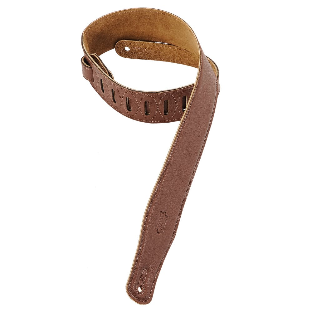 "Levy's 2 1/2"" wide brown garment leather guitar strap."