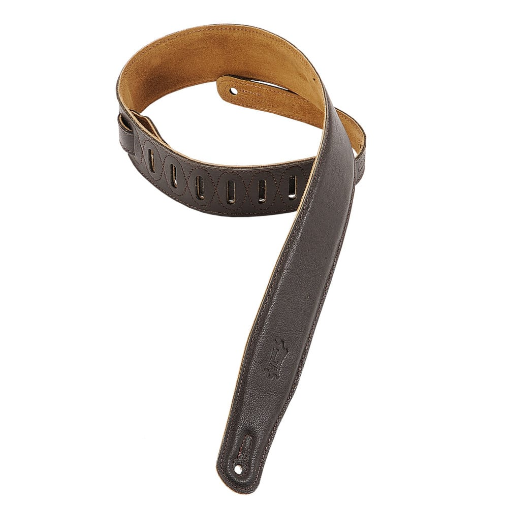 "Levy's 2 1/2"" wide dark brown garment leather guitar strap."