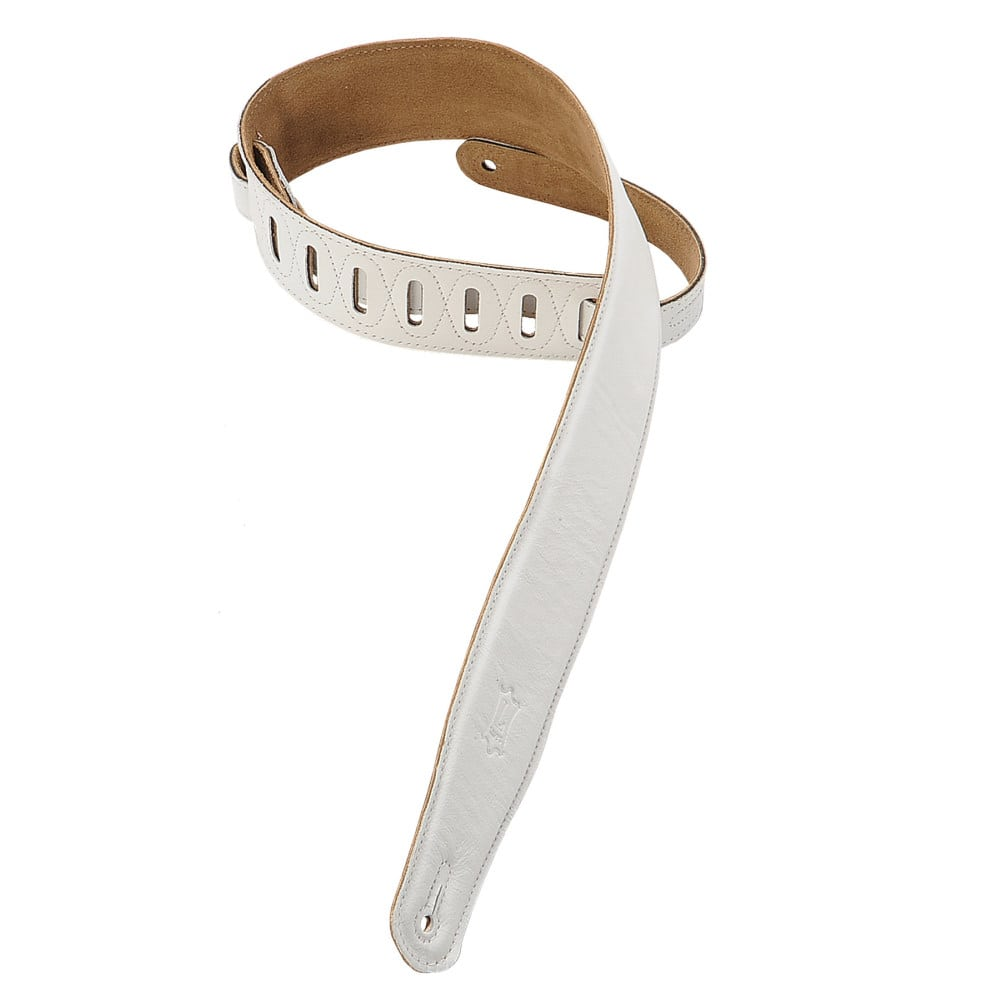 """Levy's 2 1/2"""" wide white garment leather guitar strap."""