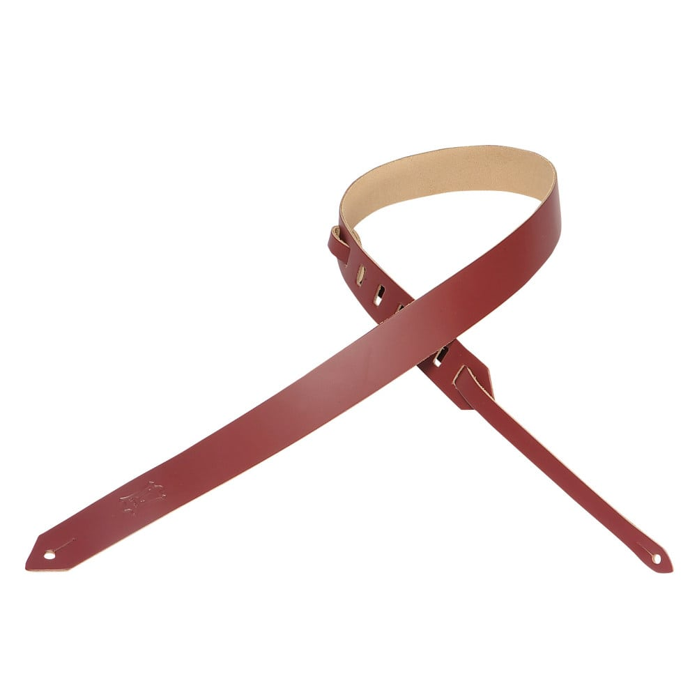 """Levy's 1 1/2"""" wide burgundy genuine leather guitar strap."""