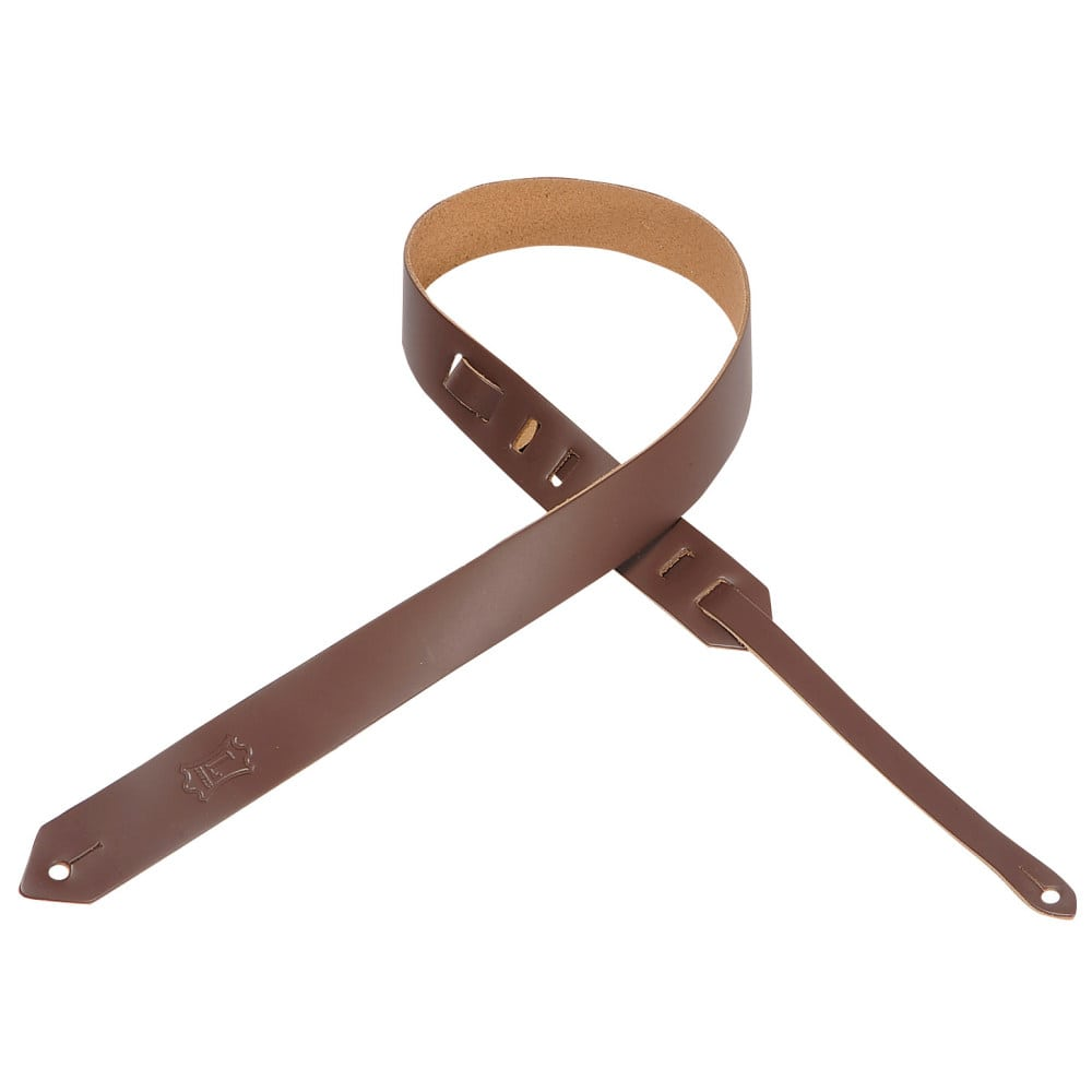 """Levy's 1 1/2"""" wide brown genuine leather guitar strap."""