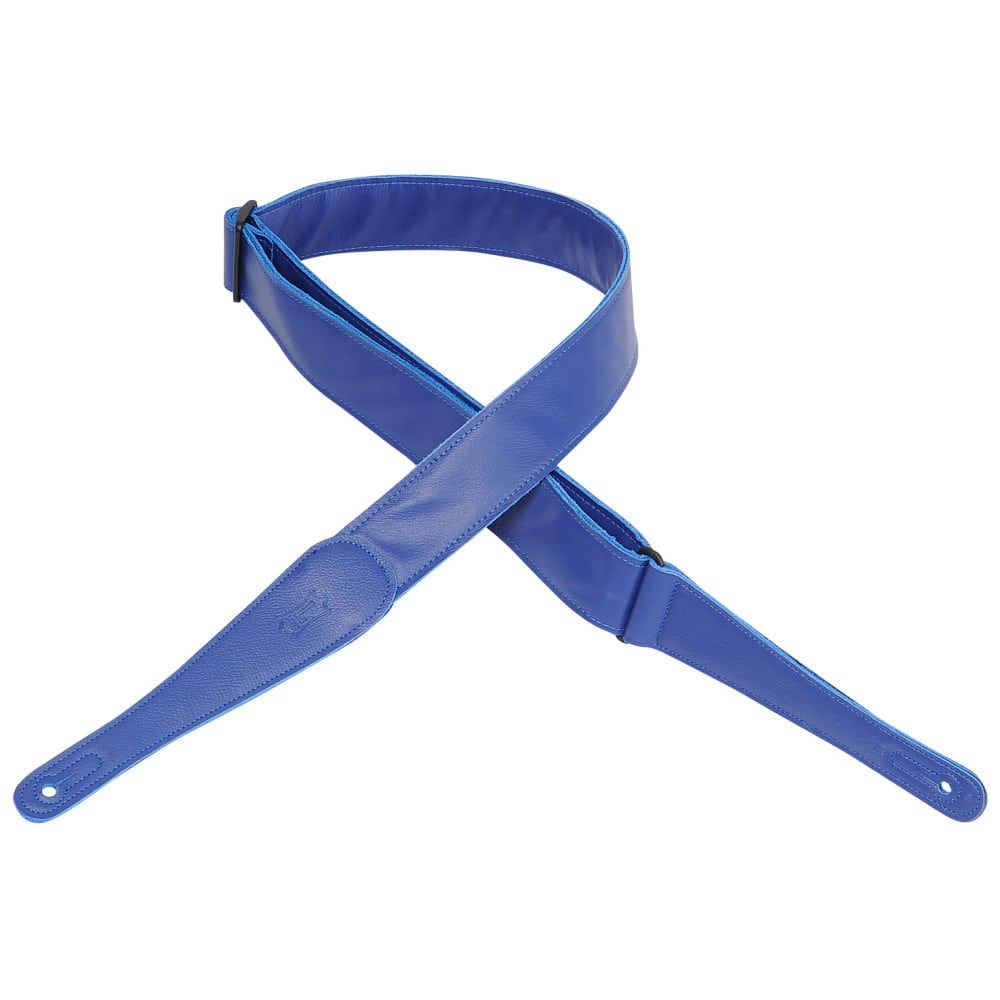"""Levy's 2"""" wide blue garment leather guitar strap."""