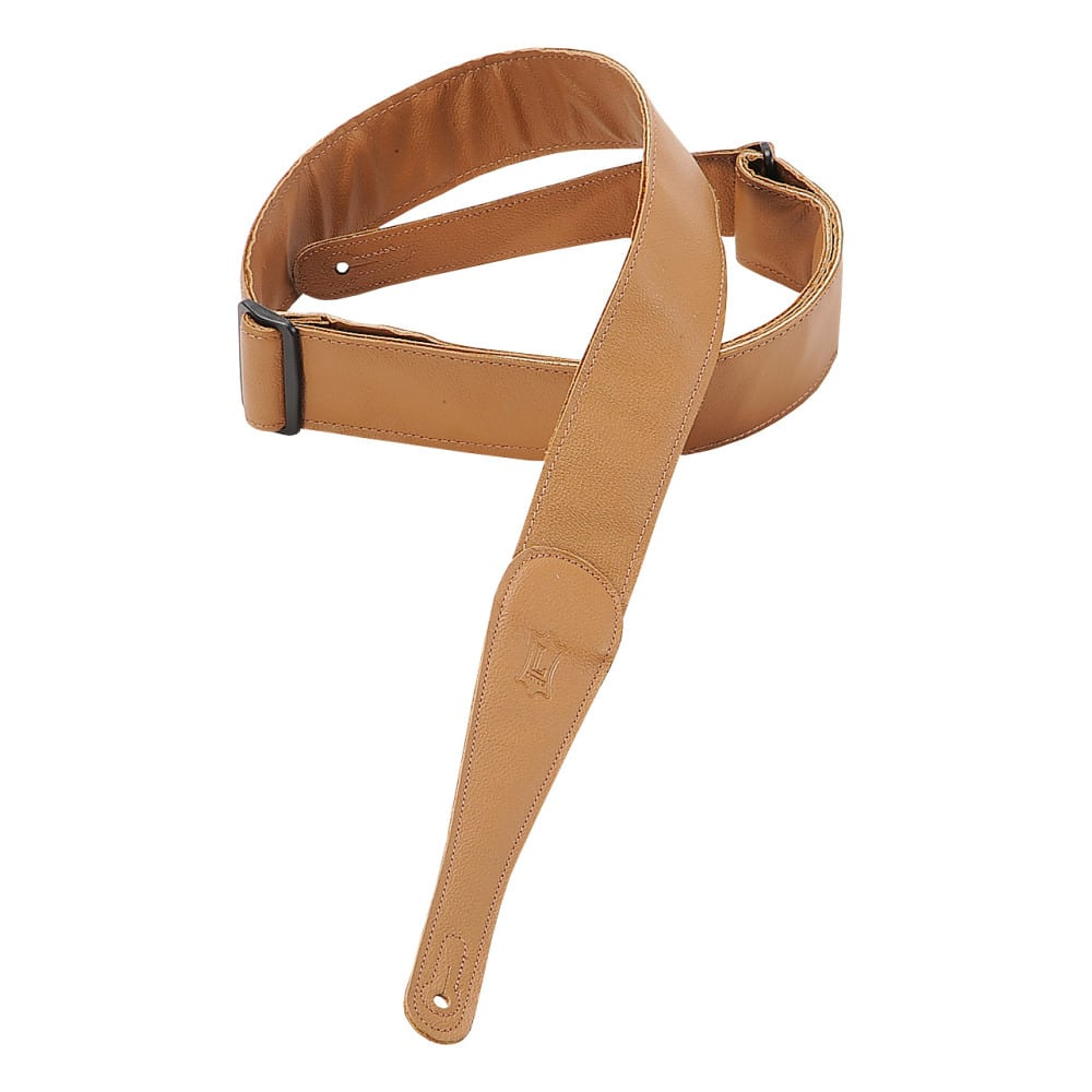 """Levy's 2"""" wide tan garment leather guitar strap."""