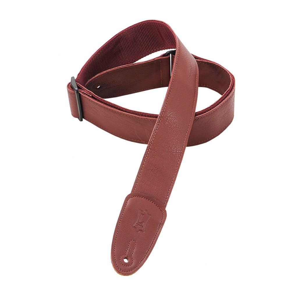 """Levy's 2"""" wide burgundy garment leather guitar strap."""