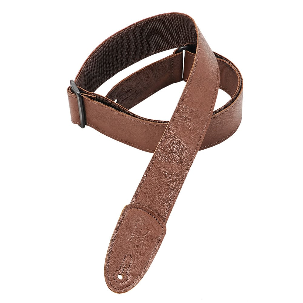 "Levy's 2"" wide brown garment leather guitar strap."
