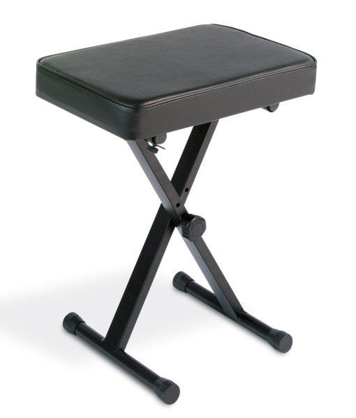 Folding, black, metal, padded, X-style keyboard bench