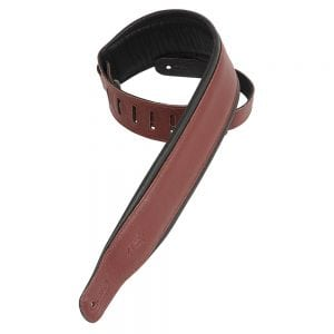 Levy's 3″ wide burgundy garment leather guitar strap