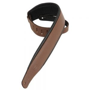 Levy's 3″ wide brown garment leather guitar strap