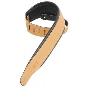 Levy's 3″ wide tan garment leather guitar strap