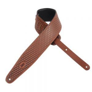 Levy's 3″ wide brown veg-tan leather guitar strap