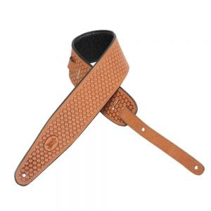 Levy's 3″ wide russet veg-tan leather guitar strap