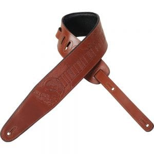 Levy's 3″ wide walnut veg-tan leather guitar strap