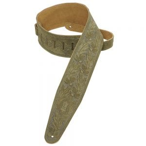 Levy's 3″ wide green suede guitar strap