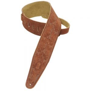 Levy's 3″ wide rust suede guitar strap