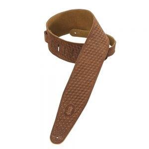 Levy's 3″ wide brown suede guitar strap
