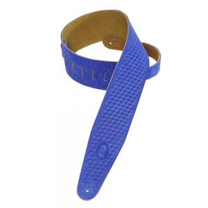 Levy's 3″ wide royal blue suede guitar strap