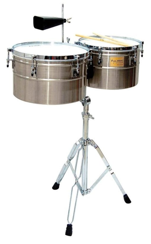 Deep-Shell Brushed Chrome Finish Timbales