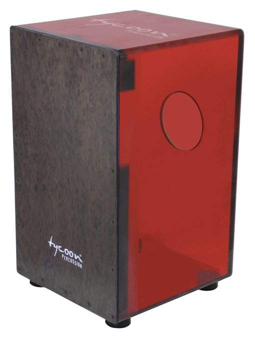 29 Series Cherry Red Acrylic Cajon - Black Makah Burl Front Plate