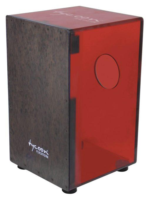 29 Series Cherry Red Acrylic Cajon - Black Makah Burl Front Plate
